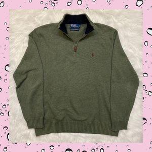 Polo Ralph Lauren Green 1/4 Zip Cotton Sweater L